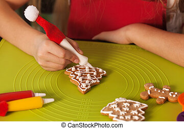 biscotti, bambino, -, closeup, mani, fabbricazione, natale