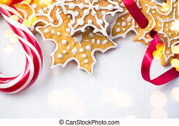 biscotti, canne, casalingo, legno, sopra, caramella, fondo, ...