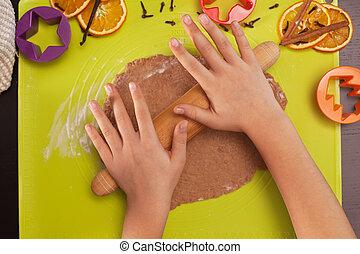 biscotti, cima, stiramento, -, pasta, natale, vista