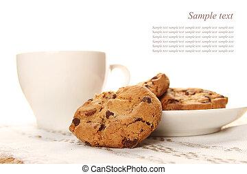 biscotti, cioccolato, tazza caffè