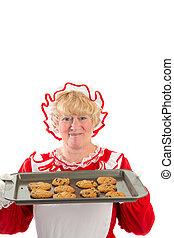 biscotti, claus, vassoio, signora
