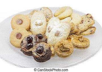 biscotti, colpo, piastra, vetro, (dof), grande, campo, profondità, preso, natale