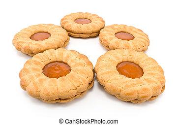 biscotti, con, albicocca, marmellata