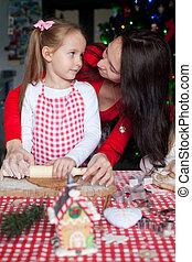 biscotti, cottura, famiglia, insieme, pan zenzero, natale, felice