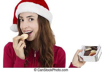 biscotti, donna mangia, natale