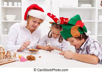 biscotti, famiglia, pan zenzero, decorare, natale, felice