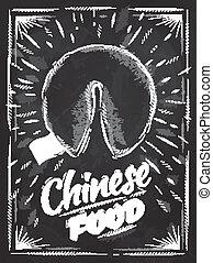 biscotti, fortuna, cibo cinese, manifesto, gesso