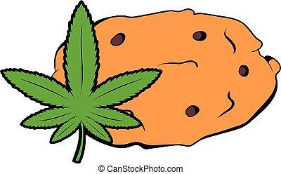 biscotti, icona, foglia, marijuana, cartone animato