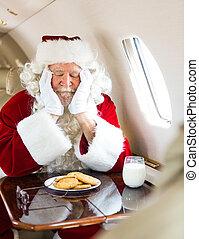 biscotti, jet, privato, in pausa, santa, latte