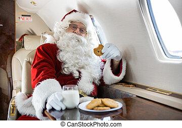 biscotti, jet, privato, latte, santa, detenere