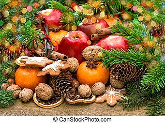 biscotti, luci, fondo, frutte, natale, spices.