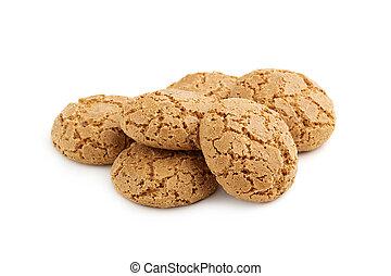 biscotti, mandorla, mucchio, fondo, bianco