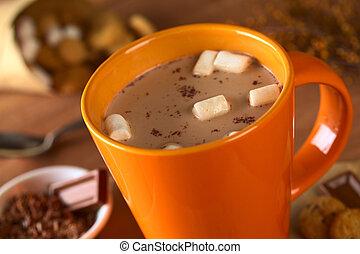 biscotti, marshmallows, tazza, circondato, caldo, fuoco, ...