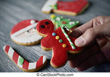 biscotti, natale, casalingo, uomo