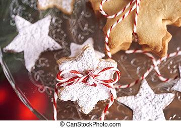 biscotti, pan zenzero, vista, angolo, alto