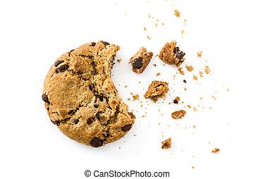 biscotti, scheggia, cioccolato, briciole, isolato, vista, ...