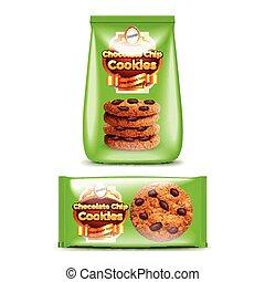 biscotti, scheggia, cioccolato, imballaggio, realistico, vettore, 3d
