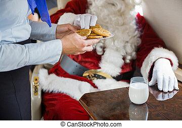 biscotti, servire, jet, privato, hostess, santa