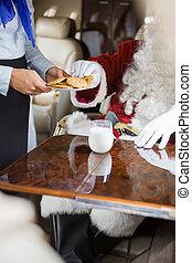 biscotti, servire, jet, privato, santa, airhostess