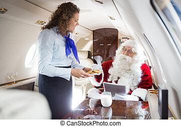 biscotti, servire, jet, privato, santa, airhostess, sorridente
