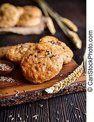biscotti, spruzzato, cotto, cumino, ciccioli