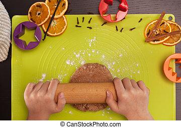 biscotti, stiramento, pasta, mani, pan zenzero, capretto