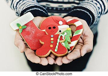 biscotti, suo, natale, uomo, mani