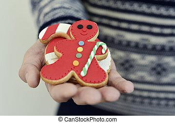 biscotti, suo, natale, uomo, mano