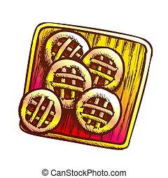 biscotti, vettore, asse, legno, colorare, taglio