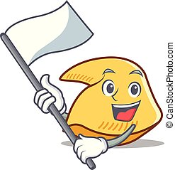 biscotto, bandiera, fortuna, cartone animato, mascotte