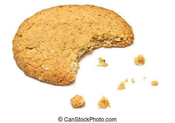 biscotto, lato, briciole, vista
