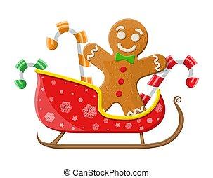 biscotto, santa, sleigh, pan zenzero, candycane, uomo