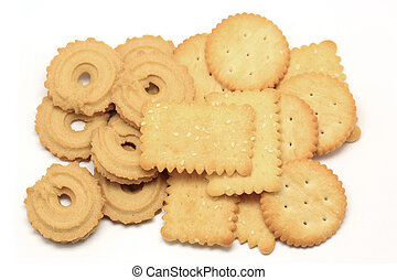 biscuit and cookie isolated on white background