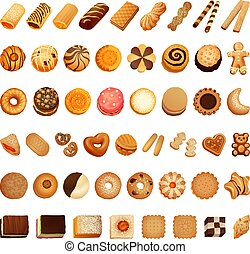 Biscuit icon set, cartoon style