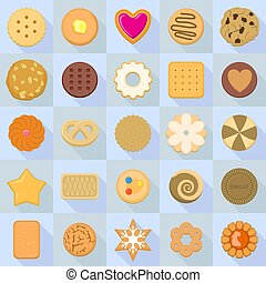 Biscuit icon set, flat style