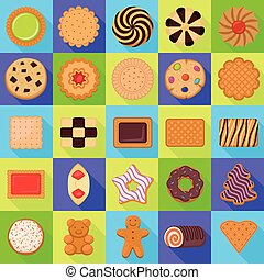 Biscuit icons set, flat style