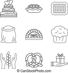 Biscuit icons set, outline style