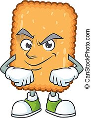 Biscuit mascot design style with grinning face