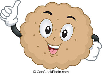 Biscuit Mascot - Mascot Illustration of a Biscuit Giving a...