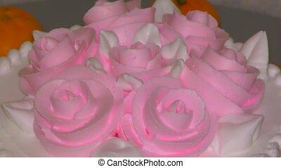 biscuit, roses, gâteau crème