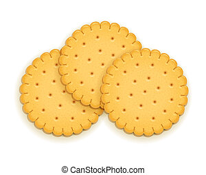 biscuit., tre, delizioso, rotondo