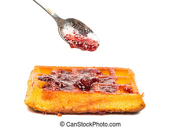 biscuit waffles with raspberry jam