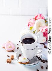 biscuits, amour, cadeau, tasse, mère, espace, cadeau, jour valentine, café, formé, surprise, copie, ou, jour