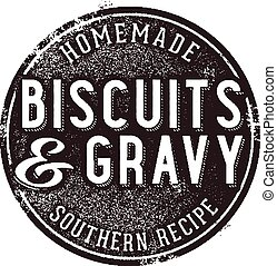 Vintage style stamp featuring authentic biscuits and gravy.