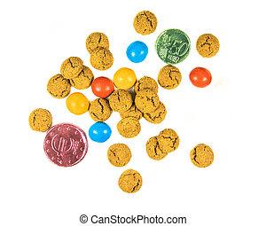 biscuits, argent, dispersé, chocolat, pepernoten, tas