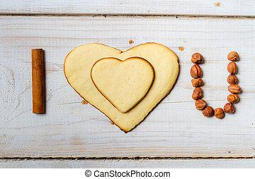 "biscuits, arrangé, phrase, fou, ""i, you"", no., amour, 3"