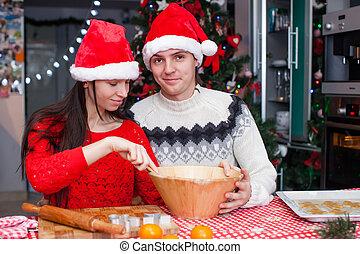 biscuits, cuisson, famille, chapeaux, ensemble, santa, pain épice, noël, heureux