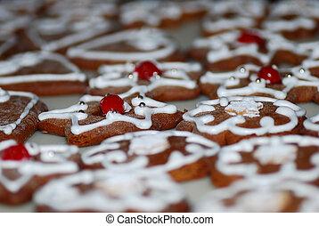 biscuits, décoré, beaucoup