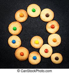 biscuits, fait maison, alphabet, -, q, lettre, enfant