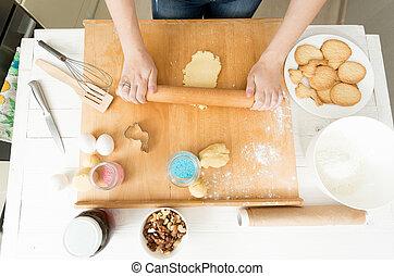 biscuits, femme, pâte, préparer, au-dessus, vue